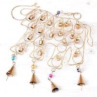 ドアチャイムなどへ!手作りのやさしい音色 インドの銅製ベル付きハンギング - 鈴なり象さん〔約40cm〕