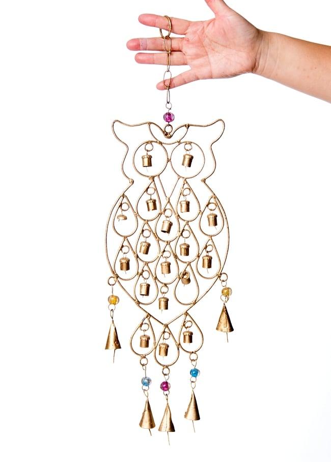 ドアチャイムなどへ!手作りのやさしい音色 インドの銅製ベル付きハンギング - 鈴なりフクロウさん〔約53cm〕 2 - 全体写真です