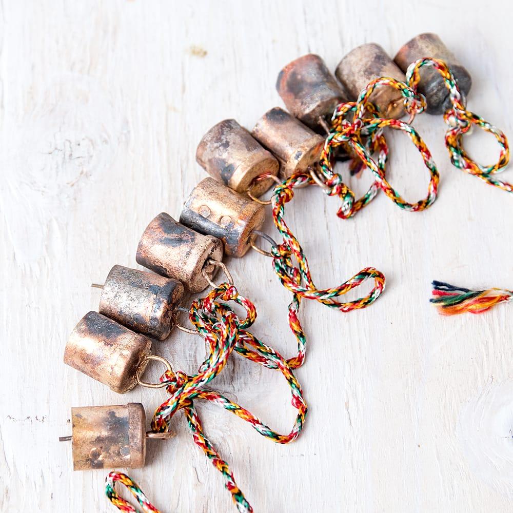 ドアチャイムなどへ!手作りのやさしい音色 インドの銅製カウベル-【2cm*1.8cm*120cm】 3 - ハンドメイドの趣があります
