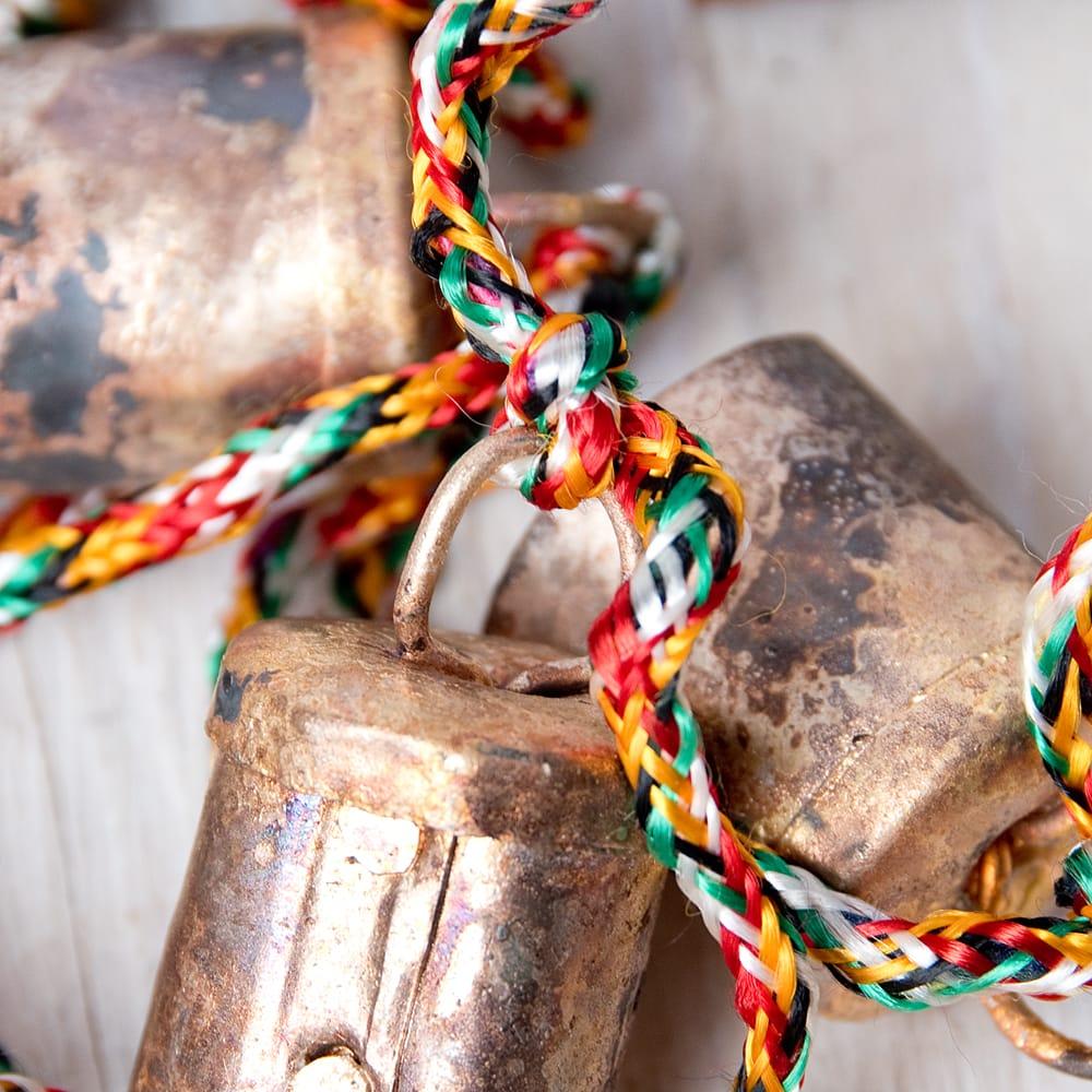 ドアチャイムなどへ!手作りのやさしい音色 インドの銅製カウベル-【2cm*1.8cm*120cm】 7 - 付け根部分です