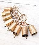 ドアチャイムなどへ!手作りのやさしい音色 インドの銅製カウベル-【5cm*3.5cm*120cm】