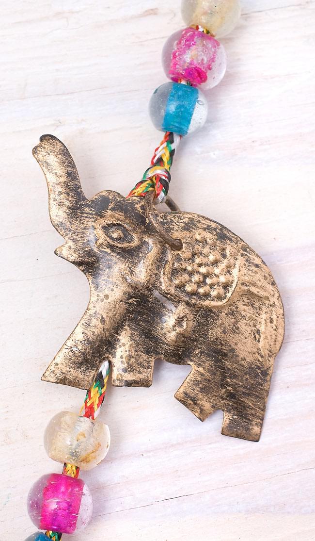 インドの銅製ハンギング-連なりゾウさんの写真
