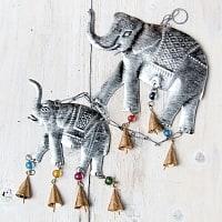 ドアチャイムなどへ!手作りのやさしい音色 インドの鉄製ハンギング - ぞう2連シルバー〔約60cm〕