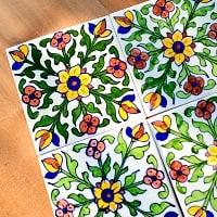 〔15cm×15cm〕ブルーポッタリー ジャイプール陶器の正方形デコレーションタイル - 唐草白