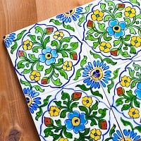 〔15cm×15cm〕ブルーポッタリー ジャイプール陶器の正方形デコレーションタイル - クロス型唐草白