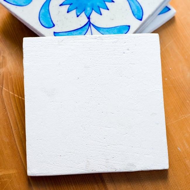 〔15cm×15cm〕ブルーポッタリー ジャイプール陶器の正方形デコレーションタイル - 唐草水色の写真5 - 裏面の写真です