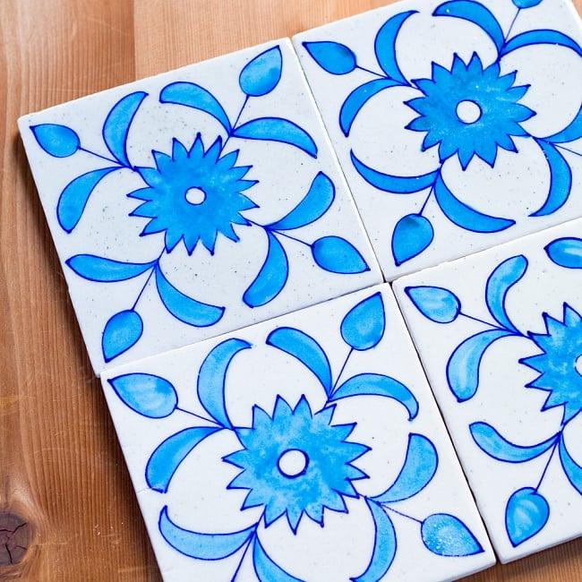 〔15cm×15cm〕ブルーポッタリー ジャイプール陶器の正方形デコレーションタイル - 唐草水色の写真