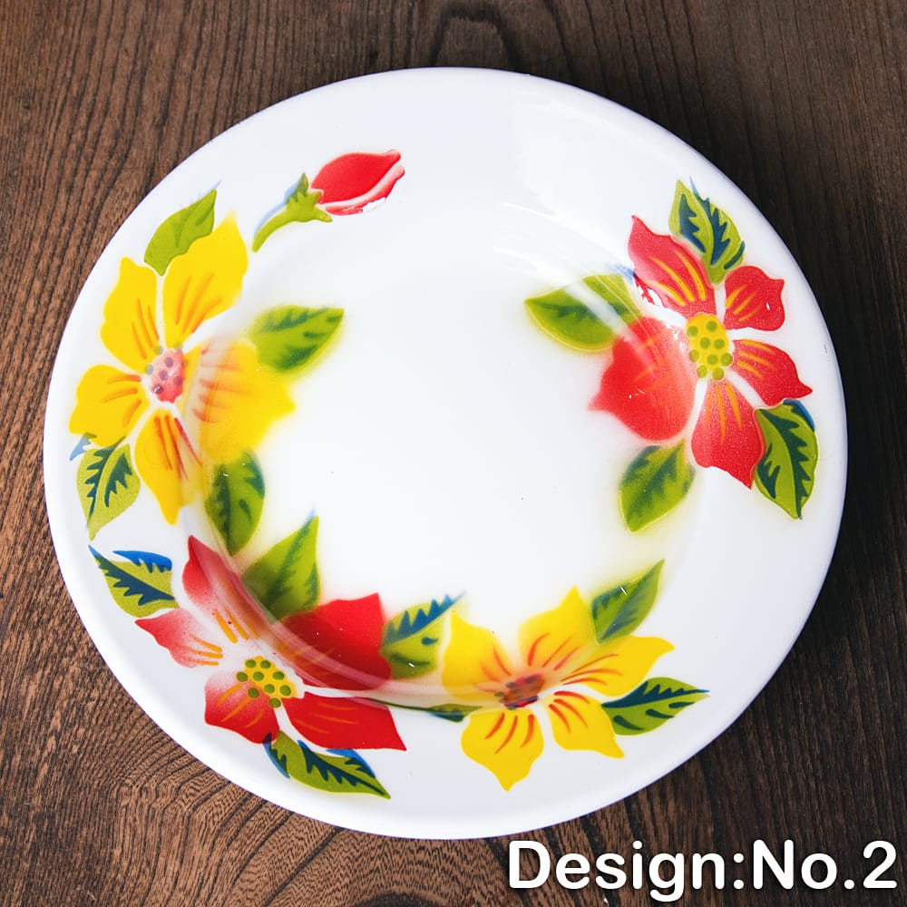 タイのレトロホーロー 花柄飾り皿 RABBIT BRAND〔約20.5cm×約3cm〕 10 - 【デザイン No.2】は、このような柄になります。