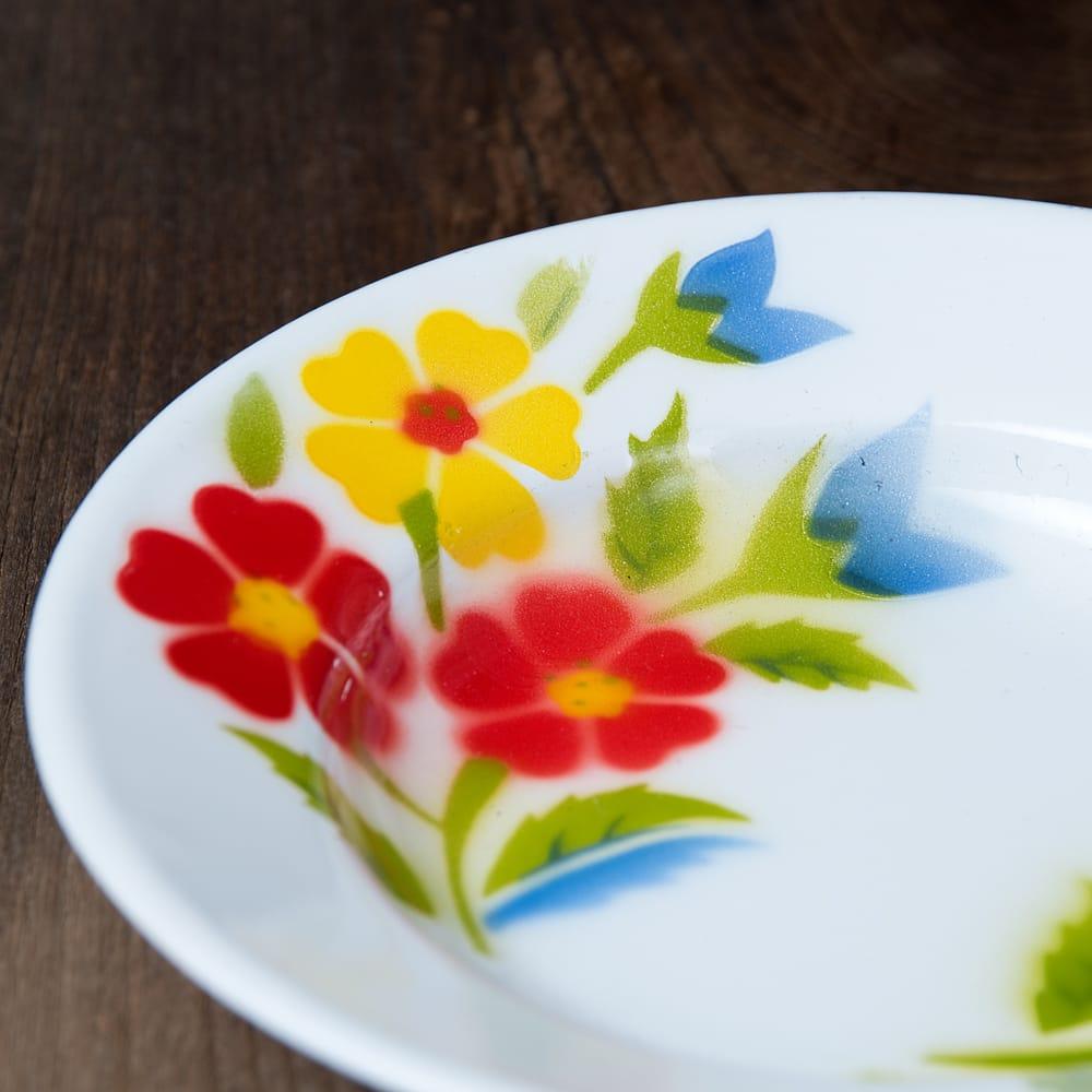 タイのレトロホーロー 花柄飾り皿 RABBIT BRAND〔約20.5cm×約3cm〕 2 - 拡大写真です