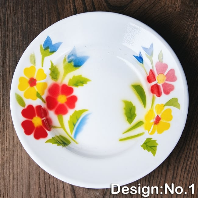 タイのレトロホーロー 花柄飾り皿 RABBIT BRAND〔約20.5cm×約3cm〕 9 - 【デザイン No.1】は、このような柄になります。