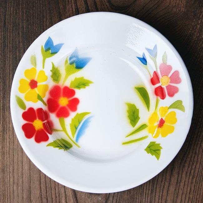 タイのレトロホーロー 花柄飾り皿 RABBIT BRAND〔約20.5cm×約3cm〕 1