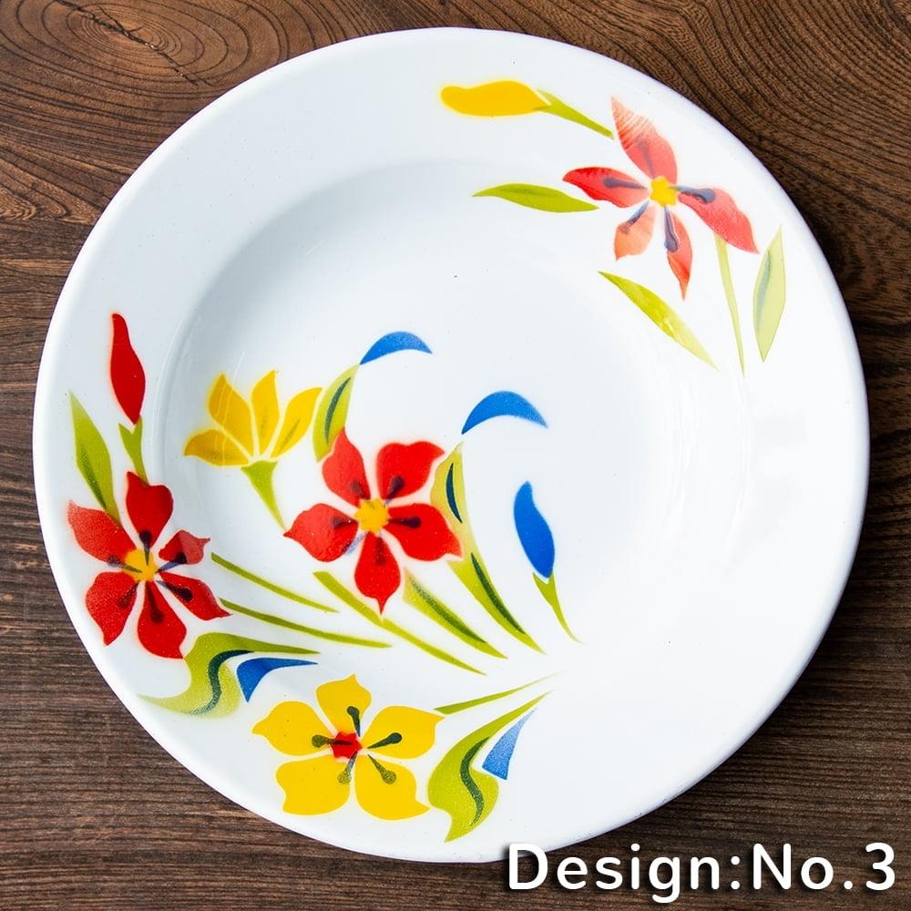 タイのレトロホーロー 花柄飾り皿 RABBIT BRAND〔約23cm×約3.2cm〕 10 - デザイン:No.3