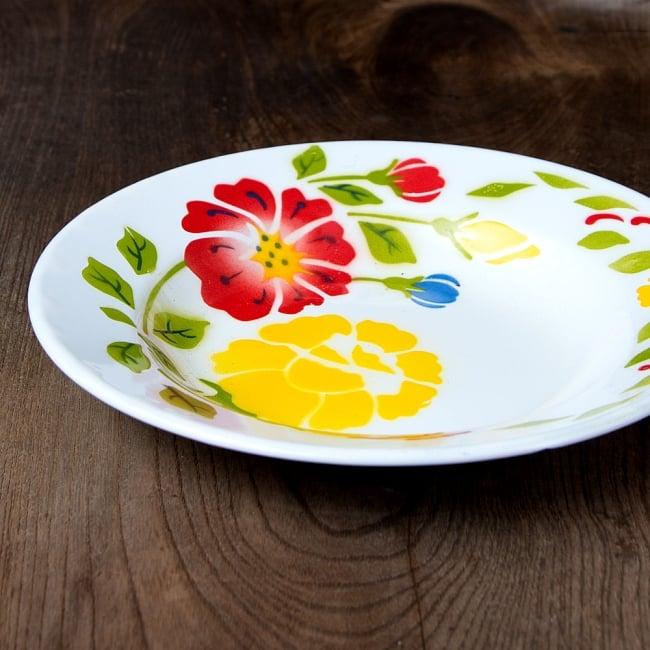 タイのレトロホーロー 花柄飾り皿 RABBIT BRAND〔約23cm×約3.2cm〕 4 - 横からの写真