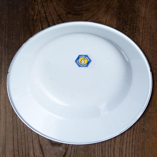 タイのレトロホーロー 花柄飾り皿 RABBIT BRAND〔約23cm×約3.2cm〕 6 - 裏面です