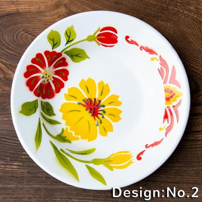 タイのレトロホーロー 花柄飾り皿 RABBIT BRAND〔約23cm×約3.2cm〕 9 - デザイン:No.2