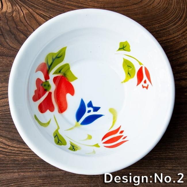 タイのレトロホーロー 花柄飾りボウル RABBIT BRAND〔約16.3cm×約4.5cm〕 9 - こちらはデザインNo.2になります。