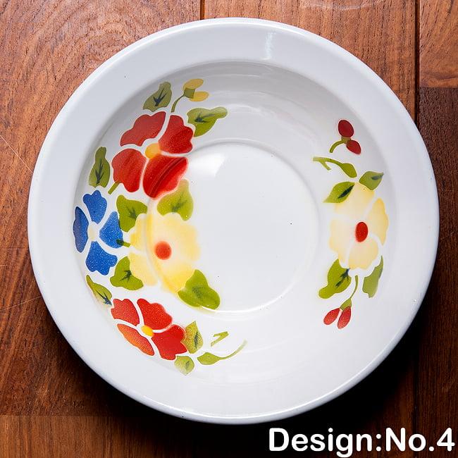 タイのレトロホーロー 花柄飾りボウル RABBIT BRAND〔約21.2cm×約6.4cm〕 12 - 【デザイン No.4】は、このような柄になります。