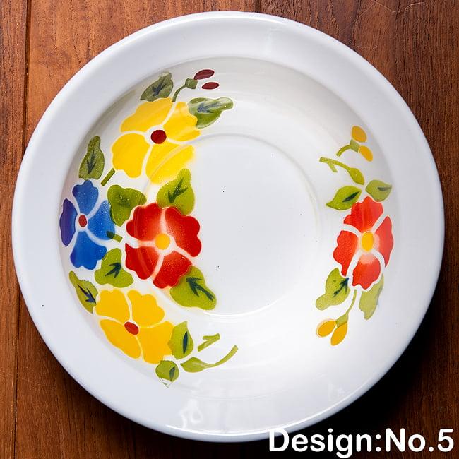 タイのレトロホーロー 花柄飾りボウル RABBIT BRAND〔約21.2cm×約6.4cm〕 13 - 【デザイン No.5】は、このような柄になります。