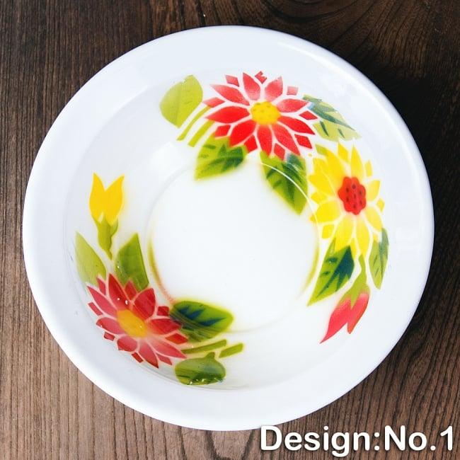 タイのレトロホーロー 花柄飾りボウル RABBIT BRAND〔約21.2cm×約6.4cm〕 9 - 【デザイン No.1】は、このような柄になります。