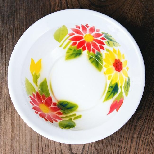 タイのレトロホーロー 花柄飾りボウル RABBIT BRAND〔約21.2cm×約6.4cm〕の写真