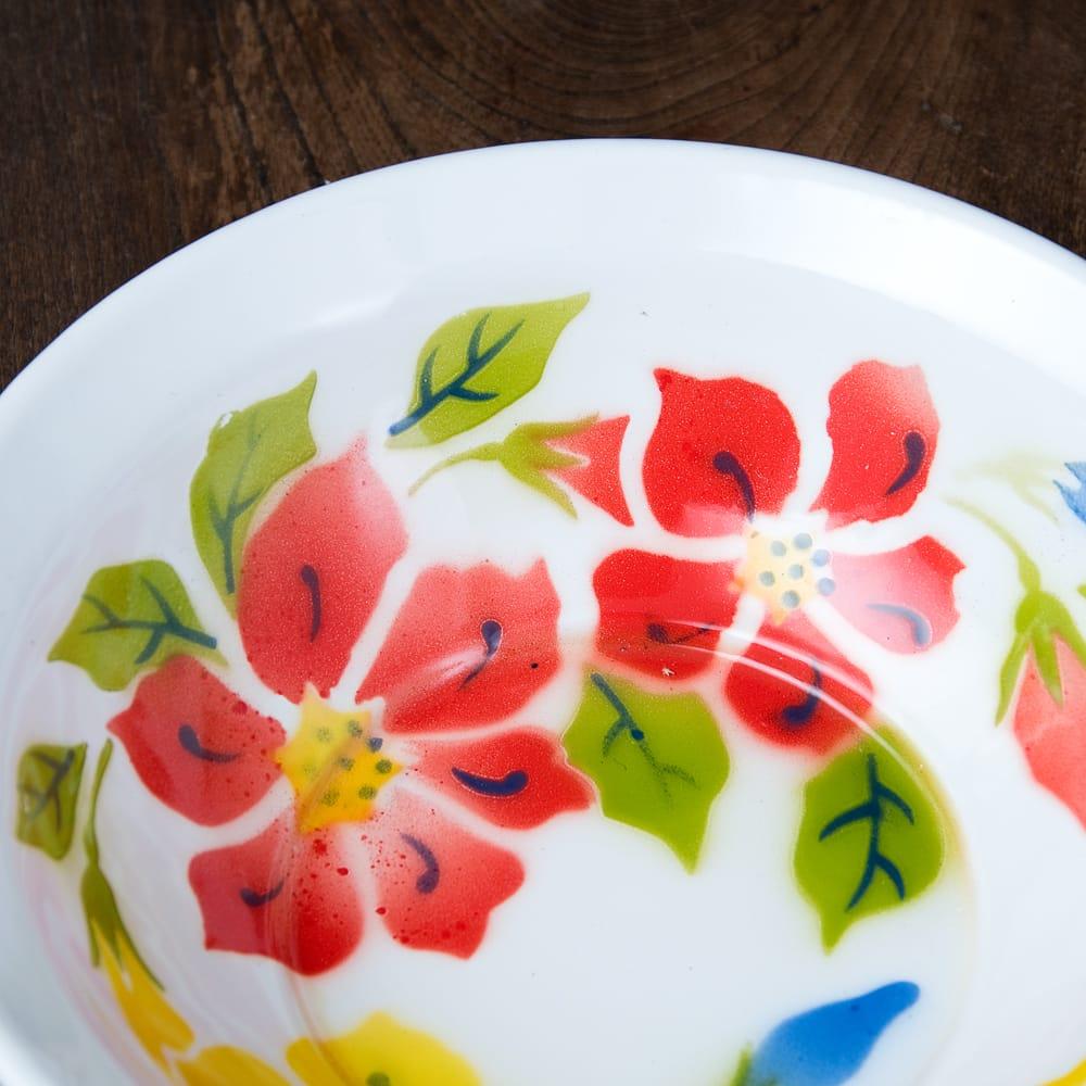タイのレトロホーロー 花柄飾りボウル RABBIT BRAND〔約23.8cm×約6.7cm〕 2 - 拡大写真です