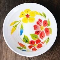 タイのレトロホーロー 花柄飾りボウル RABBIT BRAND〔約23.8cm×約6.7cm〕