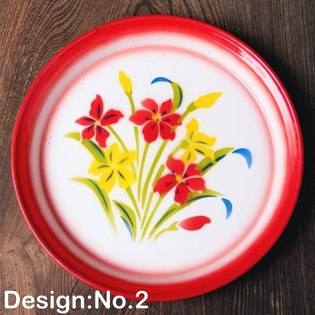 タイのレトロホーロー 花柄飾り皿・トレー RABBIT BRAND〔約25.7cm×約2.5cm〕 10 - 【デザイン No.2】は、このような柄になります。
