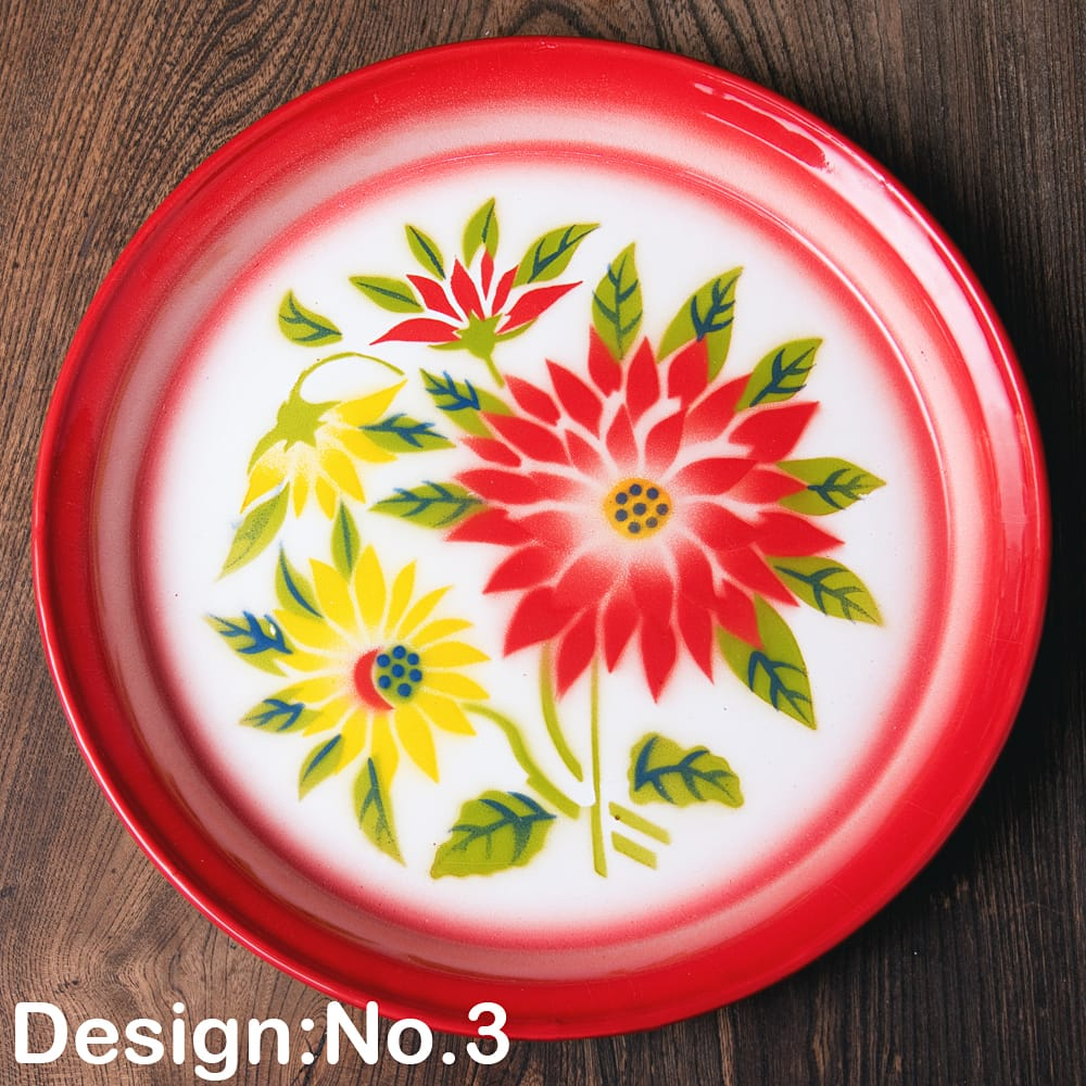 タイのレトロホーロー 花柄飾り皿・トレー RABBIT BRAND〔約25.7cm×約2.5cm〕 11 - 【デザイン No.3】は、このような柄になります。