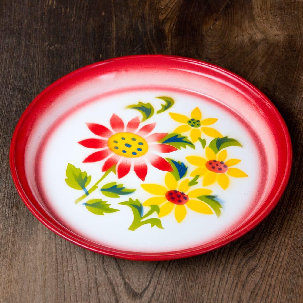 タイのレトロホーロー 花柄飾り皿・トレー RABBIT BRAND〔約25.7cm×約2.5cm〕 3 - 花がらが素敵です