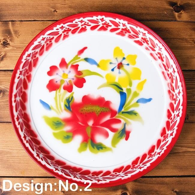 タイのレトロホーロー 花柄飾り皿・トレー RABBIT BRAND〔約45cm×約4.3cm〕 10 - 【デザイン No.2】は、このような柄になります。