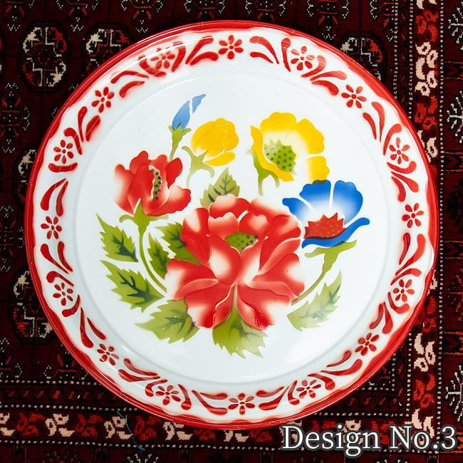 タイのレトロホーロー 花柄飾り皿・トレー RABBIT BRAND〔約45cm×約4.3cm〕 11 -
