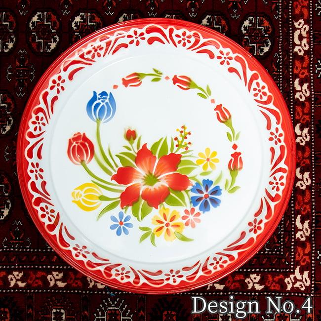 タイのレトロホーロー 花柄飾り皿・トレー RABBIT BRAND〔約45cm×約4.3cm〕 12 - 【デザイン No.4】は、このような柄になります。
