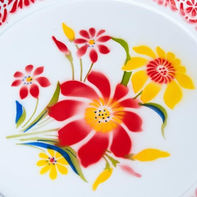 タイのレトロホーロー 花柄飾り皿・トレー RABBIT BRAND〔約45cm×約4.3cm〕 2 - 拡大写真です