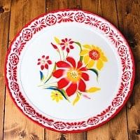 タイのレトロホーロー 花柄飾り皿・トレー RABBIT BRAND〔約45cm×約4.3cm〕