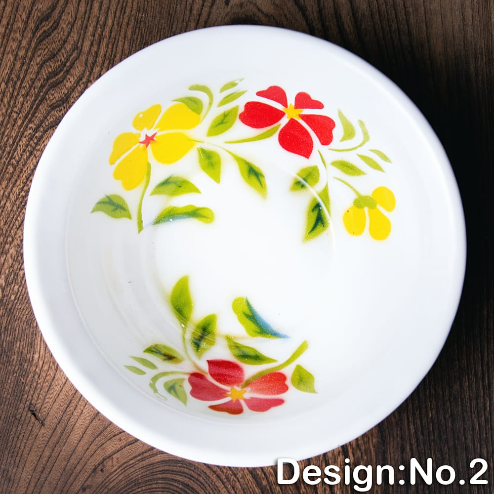 タイのレトロホーロー 花柄飾りボウル RABBIT BRAND〔約18.5cm×約5.2cm〕 10 - 【デザイン No.2】は、このような柄になります。