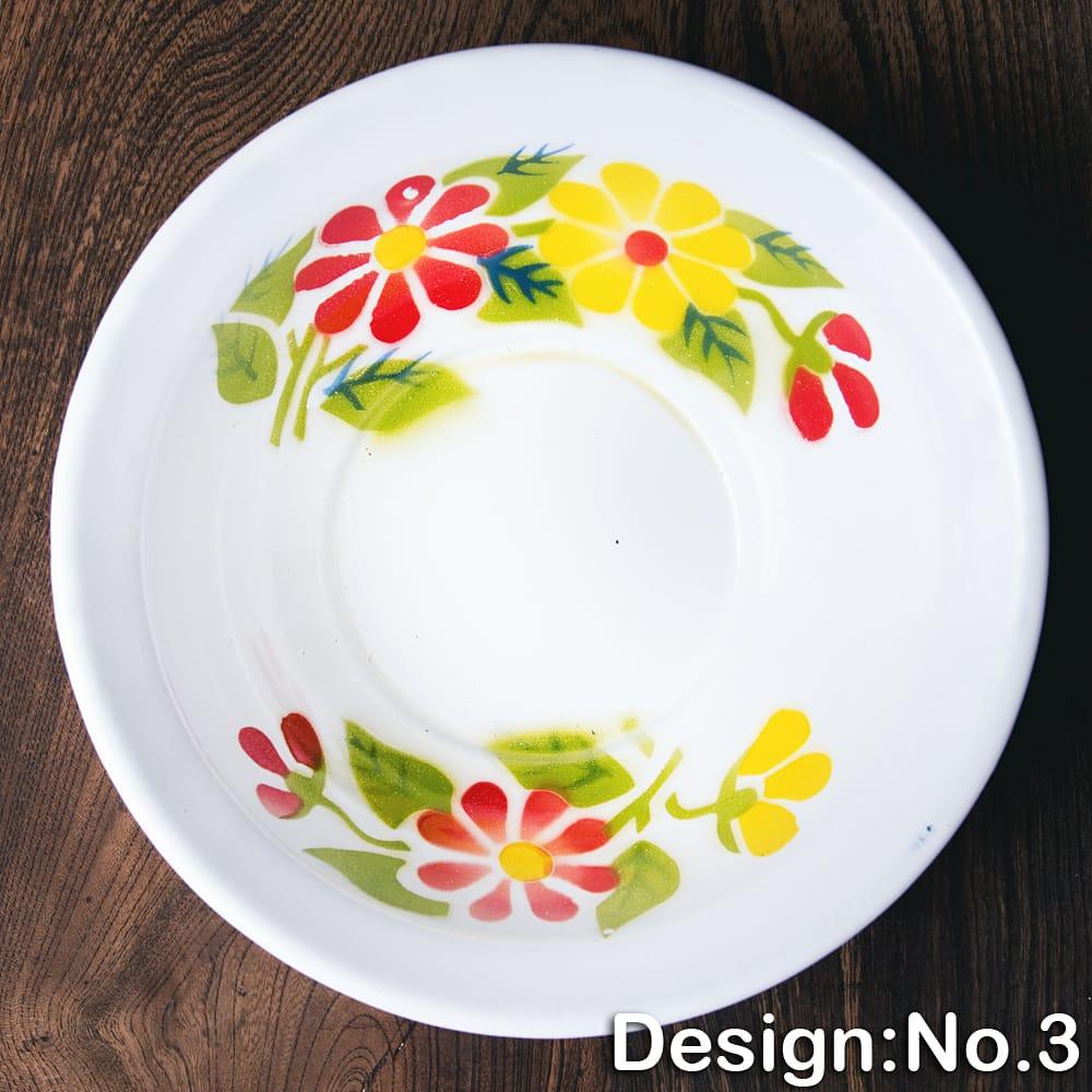 タイのレトロホーロー 花柄飾りボウル RABBIT BRAND〔約18.5cm×約5.2cm〕 11 - 【デザイン No.3】は、このような柄になります。