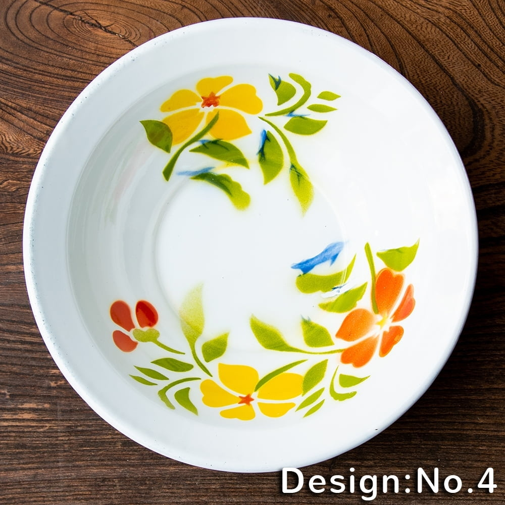 タイのレトロホーロー 花柄飾りボウル RABBIT BRAND〔約18.5cm×約5.2cm〕 12 - 【デザイン No.4】は、このような柄になります。