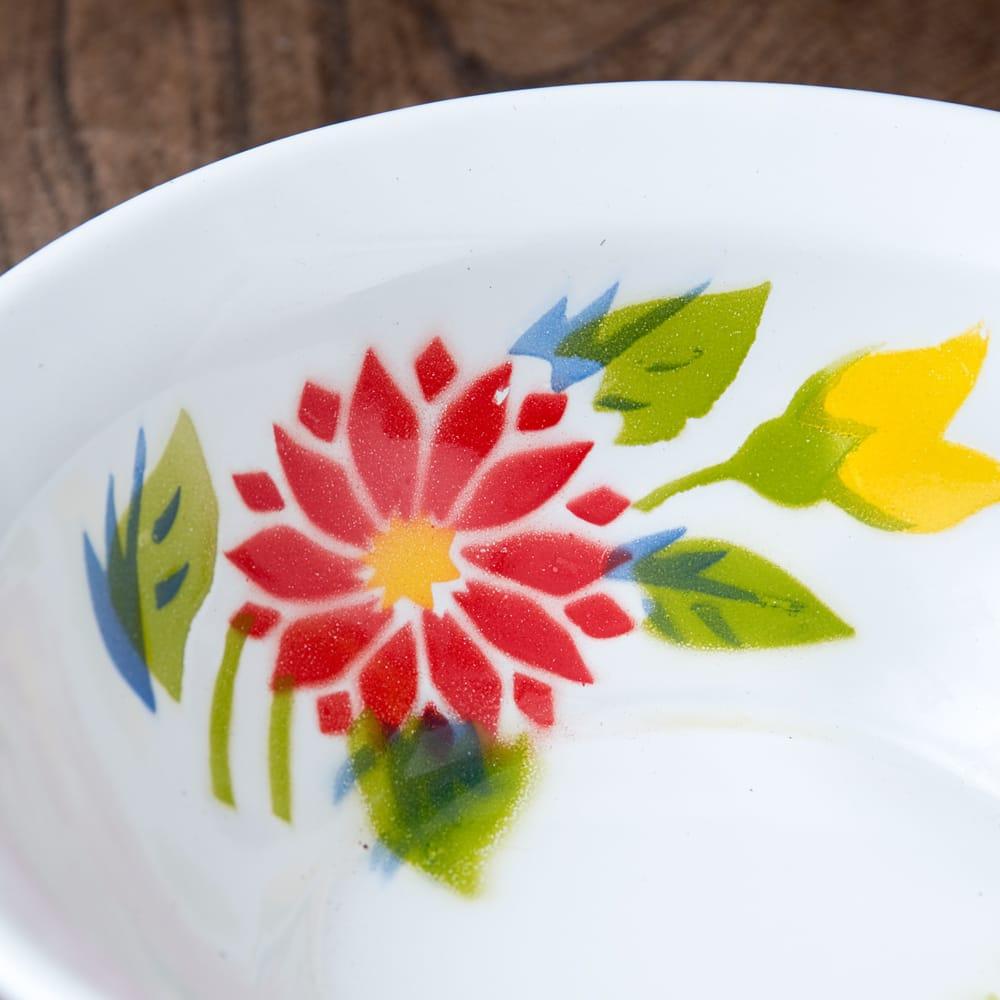タイのレトロホーロー 花柄飾りボウル RABBIT BRAND〔約18.5cm×約5.2cm〕 5 - 拡大写真です