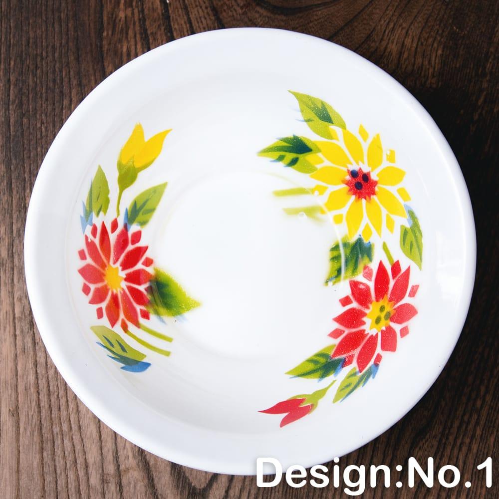 タイのレトロホーロー 花柄飾りボウル RABBIT BRAND〔約18.5cm×約5.2cm〕 9 - 【デザイン No.1】は、このような柄になります。