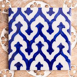 〔10cm×10cm〕ブルーポッタリー ジャイプール陶器の正方形デコレーションタイルモロカン