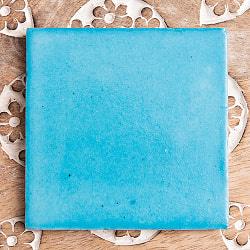 〔10cm×10cm〕ブルーポッタリー ジャイプール陶器の正方形デコレーションタイル水色 インド品質