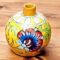 ブルーポッタリー ジャイプール陶器の一輪挿し花瓶 ソープディスペンサー  小物入れ - 唐草黄色