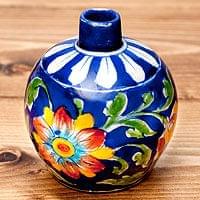 ブルーポッタリー ジャイプール陶器の一輪挿し花瓶 ソープディスペンサー  小物入れ - 唐草青