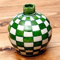 ブルーポッタリー ジャイプール陶器の一輪挿し花瓶 ソープディスペンサー  小物入れ - 花瓶小物入れ - 曲線緑