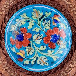 〔直径:14.2cm〕ブルーポッタリー ジャイプール陶器の円形飾り皿・小物入れ - 水色系