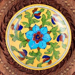 〔直径:14.2cm〕ブルーポッタリー ジャイプール陶器の円形飾り皿・小物入れ - 黄色