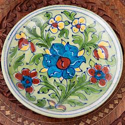 〔直径:14.2cm〕ブルーポッタリー ジャイプール陶器の円形飾り皿・小物入れ - 緑系