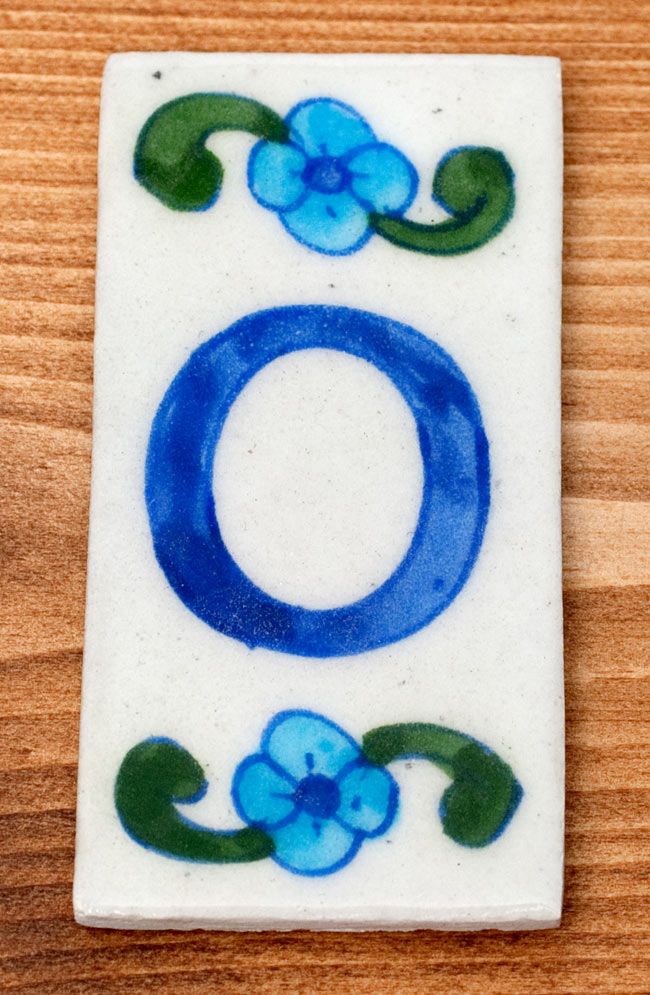 〔10cm×5cm〕ブルーポッタリー ジャイプール陶器の数字型デコレーションタイル - 0番の写真