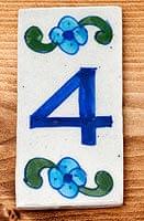 〔10.2cm×5.3cm〕ブルーポッタリー ジャイプール陶器の数字型デコレーションタイル - 4番