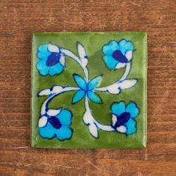 〔5.2cm×5.2cm〕ブルーポッタリー ジャイプール陶器の正方形デコレーションタイル - 緑
